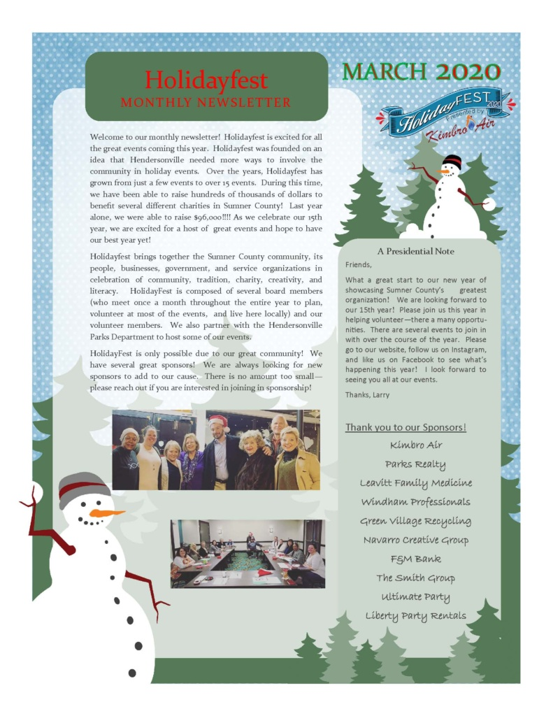 HolidayFest Newsletter March 2020 - front page