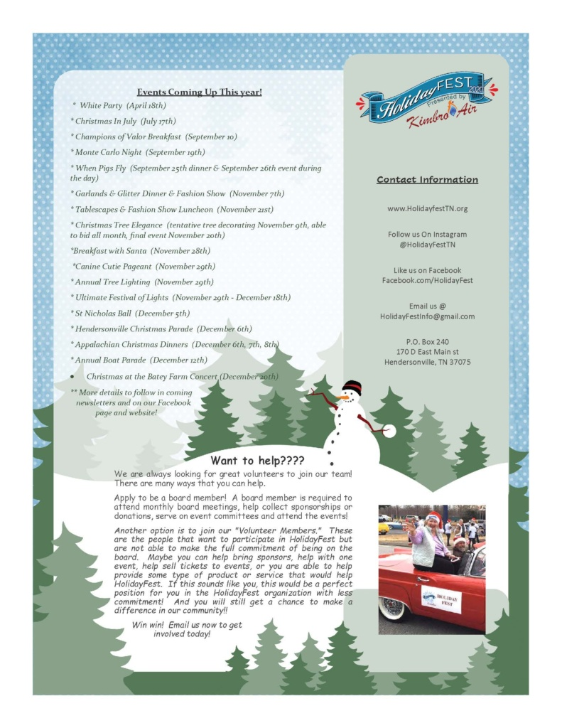 HolidayFest Newsletter March 2020 - page1